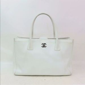 Authentic Chanel off White Caviar Leather Bag
